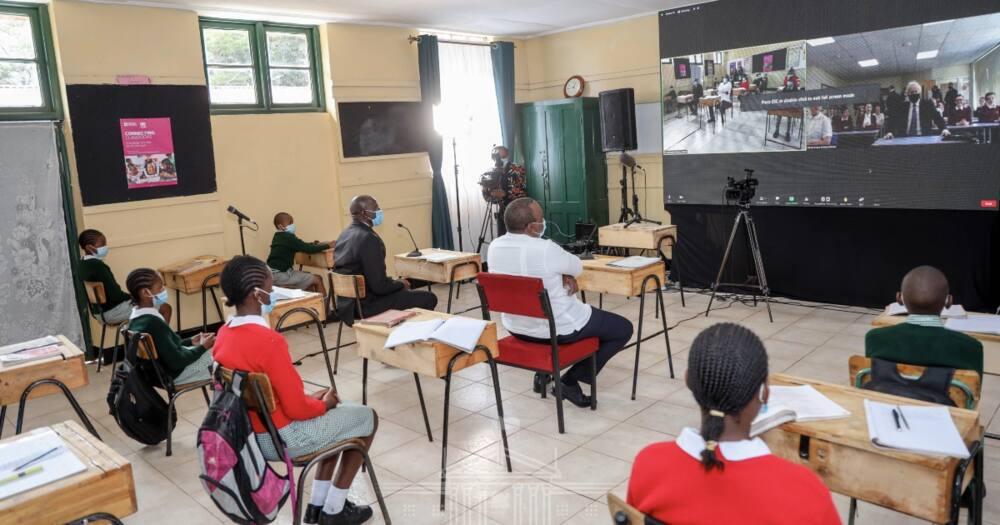 President Uhuru Kenyatta in a virtual tour of Westlands and UK's Cleves Cross Primary Schools.