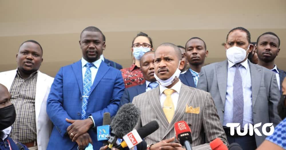The MPs were led by Embakasi East MP Babu Owino. Photo: John Papanoo.
