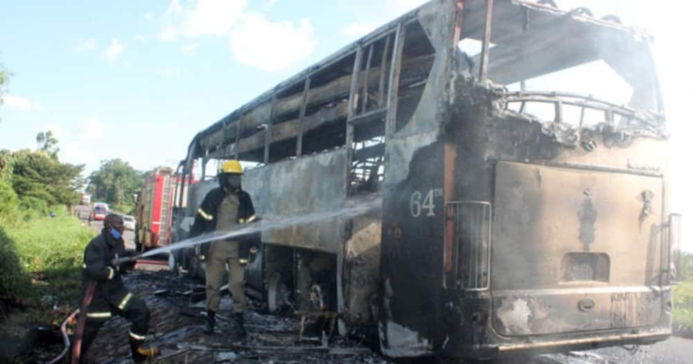 Government bus transporting COVID-19 patients catches fire