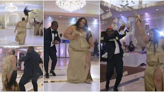 Drama as Lady 'Scatters' Wedding, Removes Her Wig as She Dances and Shoots Dollars in the Air