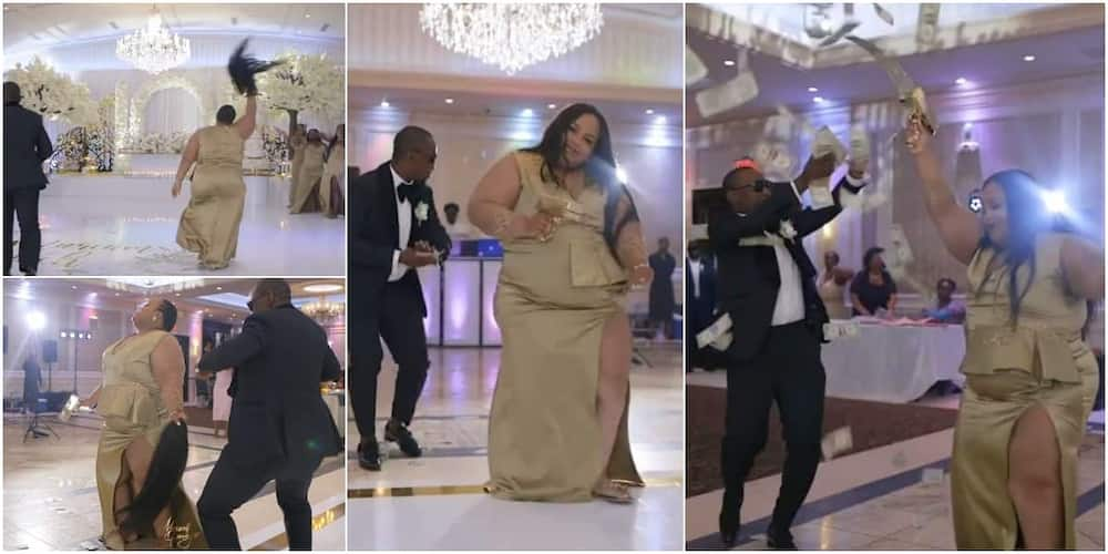 Lady causes stir at wedding, 'scatters' dance floor with cool moves as she removes her wig, shoots dollars in video.