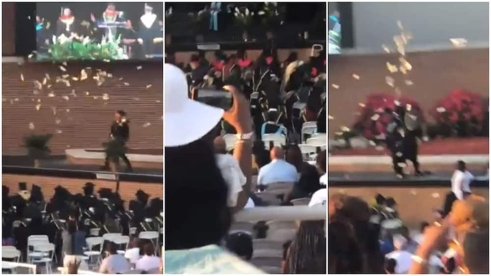 Man sprays N2m on stage during his graudation ceremony from US school, police arrest him