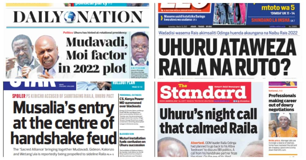 Kenyan newspaper review for March 8. Photo: UGC.