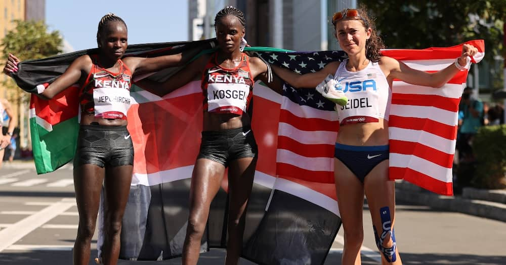 Team Kenya at the women's marathon