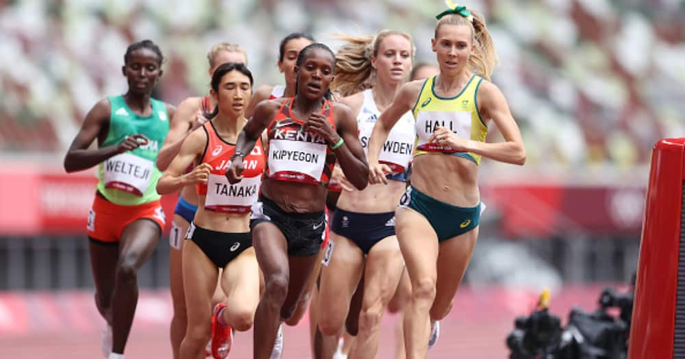 Diribe Welteji of Team Ethiopia, Nozomi Tanaka of Team Japan, Faith Kipyegon of Team Kenya and Linden Hall of Team Australia compete in round one of the Women's 1500m heats. (Photo by Michael Steele/Getty Images)