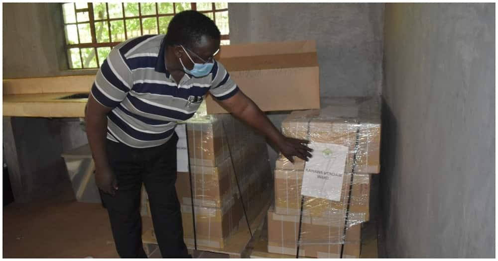 Ballot paper pallets at Ruiru Boys Secondary school for the byelections in Kahawa Wendani. Photo: IEBC