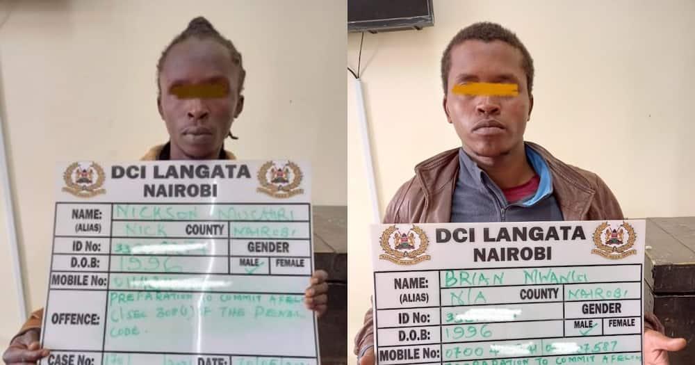The DCI arrested Brian Mwangi (i) and Nickson Muchiri (r). Photo.DCI.