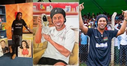 Brazilian football legend Ronaldhino receives well crafted portrait from Kenyan artist