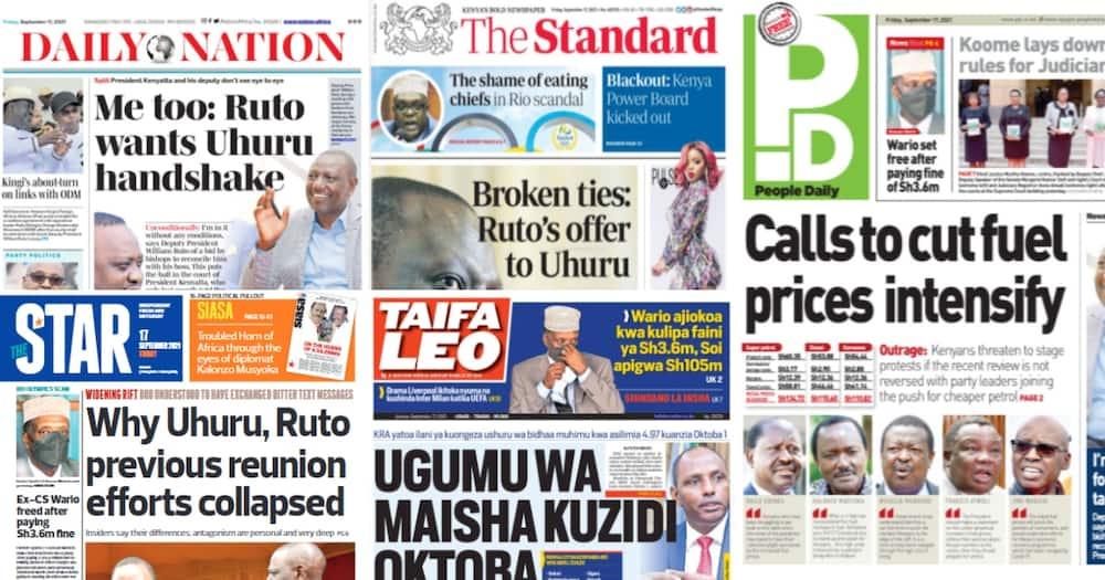 Magazeti Ijumaa: Rais Uhuru na DP Ruto Walitumiana Jumbe za Makasiriko