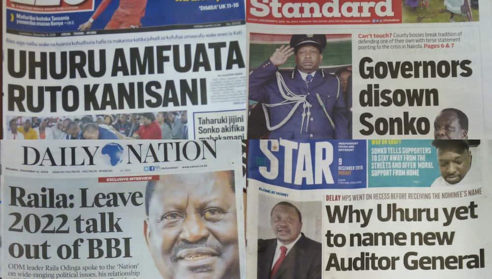 Magazeti ya Kenya Jumatatu, Desemba 9: Raila asema Mudavadi anaugua maradhi ya kumbukumbu