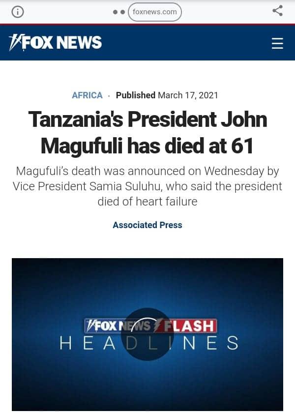 How international media covered John Pombe Magufuli's death