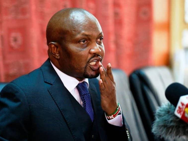 Mbunge Moses Kuria hajalipa ridhaa kwa Martha Karua na sasa huenda mali yake ikauzwa. Picha: Standard