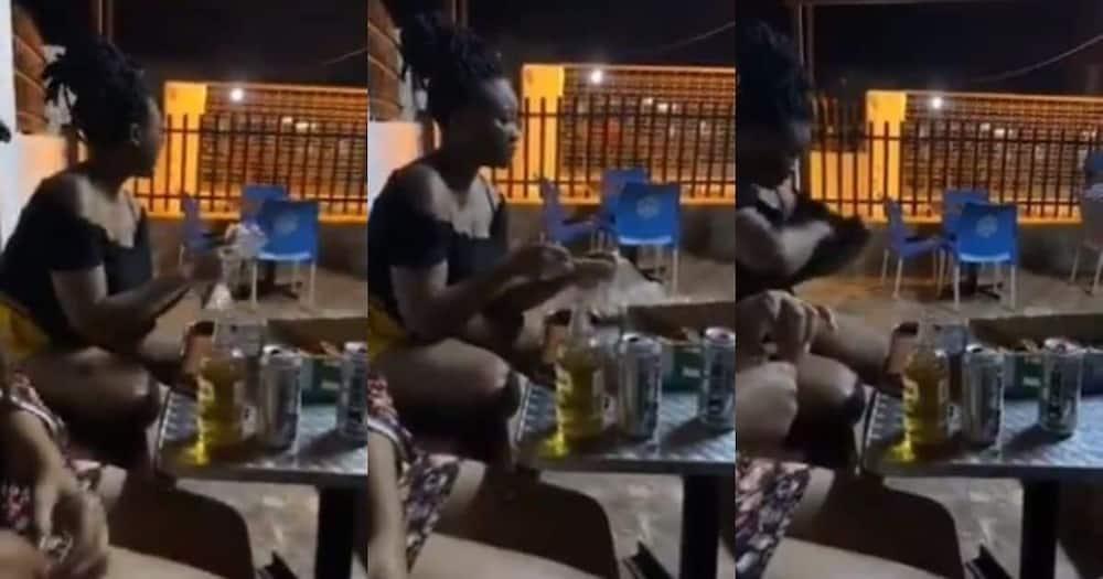 Video shows woman, taking food, stuffing it, shirt Turn off FB pls, export pls