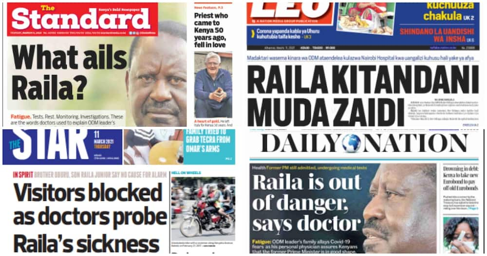 Kenyan newspaper review for March 11. Photo: UGC.