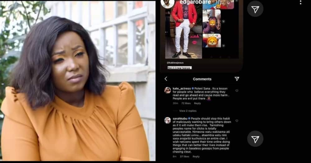 Screenshot of Kate Actress, Sarah Kabu defending Kabi and Milly over baby Abby paternity in past emerge