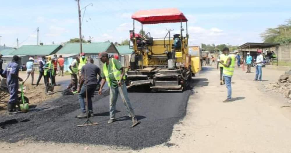 Road repairs in Nakuru town. Photo: Nakuru County Government.