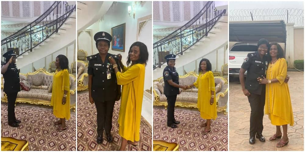 Many gush as mum decorates first daughter who is a Nigerian police officer.