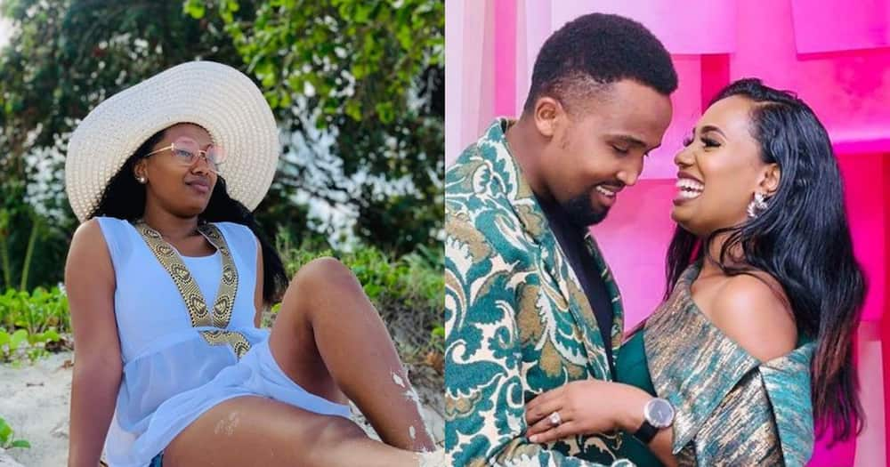 Grace Ekirapa at the beach (L) and posing for a photo with her hubby in a matching outfit (R). Photo: @Pacsal Tokodi.