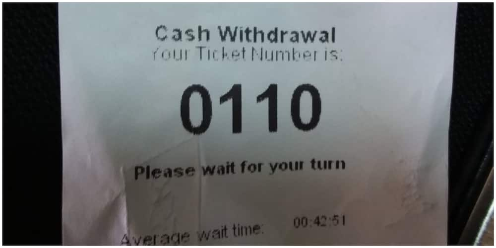 A slip of the newly introduced banking hall ticket numbers. Photo: Group Kenya