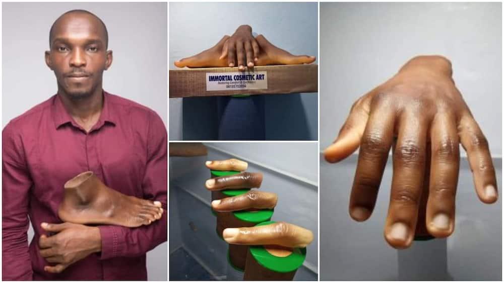 Nigerian Man Creates Artificial Fingers, Legs, Hands for Dark Skin, Photos Wow People