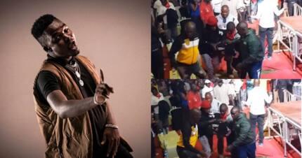 Bongo star Aslay slips and falls off stage during Kisumu performance