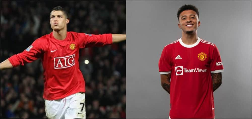 Man United legend Cristiano Ronaldo and Jadon Sancho.Photos by Ash Donelon and Matthew Peters.