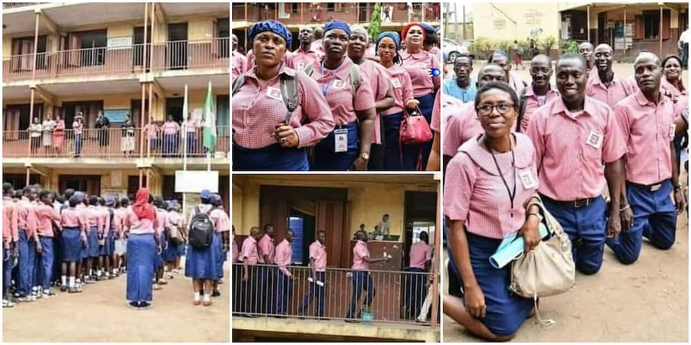 Reactions as old students storm their secondary school after 30 years, wear uniforms and march to class.