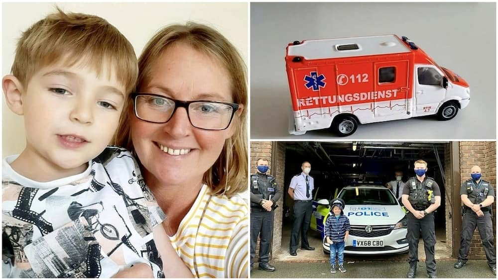 A collage showing the mom, Josh, and the toy car. Photo source: Daily Mail