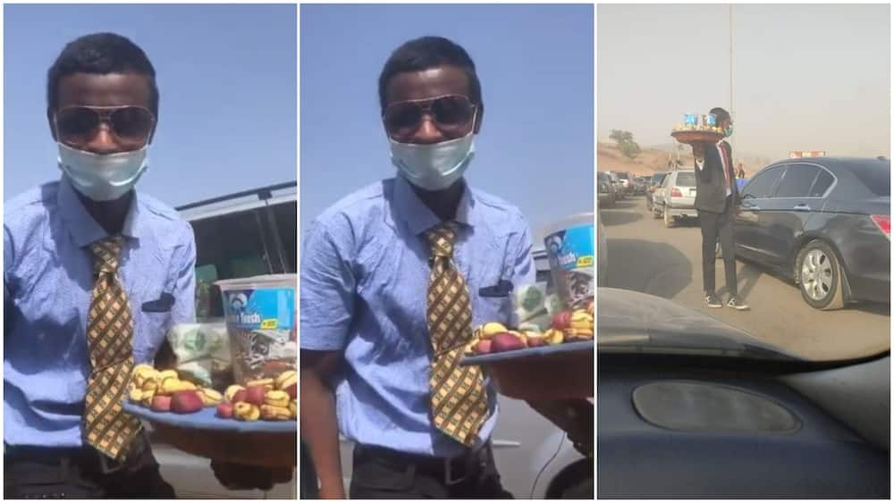 Perfectly dressed, the man also wore a fast mask and kept it on while he was talking with Shehu in his car.