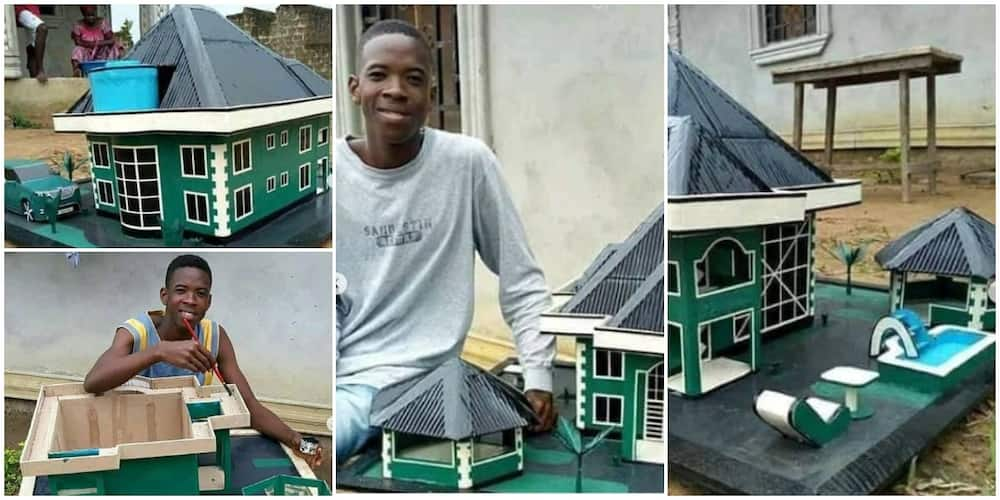 Young man makes great artwork of a furnished storey building with a car, bar and swimming pool in it