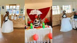 Teacher raises eyebrows as she celebrates birthday at school in wedding dress
