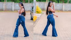 Diana Marua effortlessly brings back 80's fashion with trendy bell bottoms