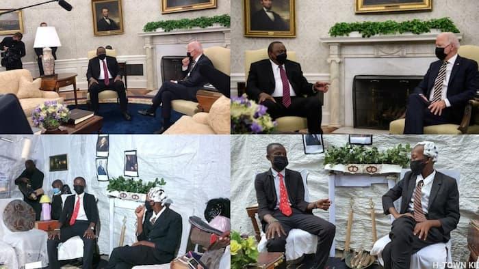 Huruma Town Kids Hilariously Mimic Photos of Uhuru Kenyatta and Joe Biden at White House