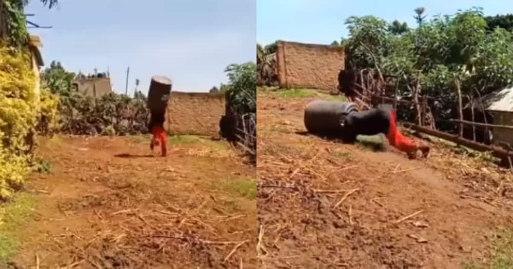 Tumemwachia Yesu: Kenyans Stunned After Embarambamba Runs with Tank on His Head