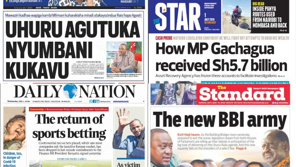 Kenyan newspapers review for July 1: 15 key players Uhuru, Raila are banking on to ensure BBI rolls smoothly in Parliament