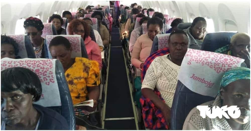 Airborne mothers in the Jambo Jet plane as they flew from Eldoret to JKIA on Wednesday, June 12. Photo: TUKO.co.ke