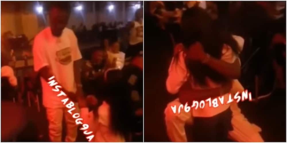 The young lady proposed marriage to the love of her life.