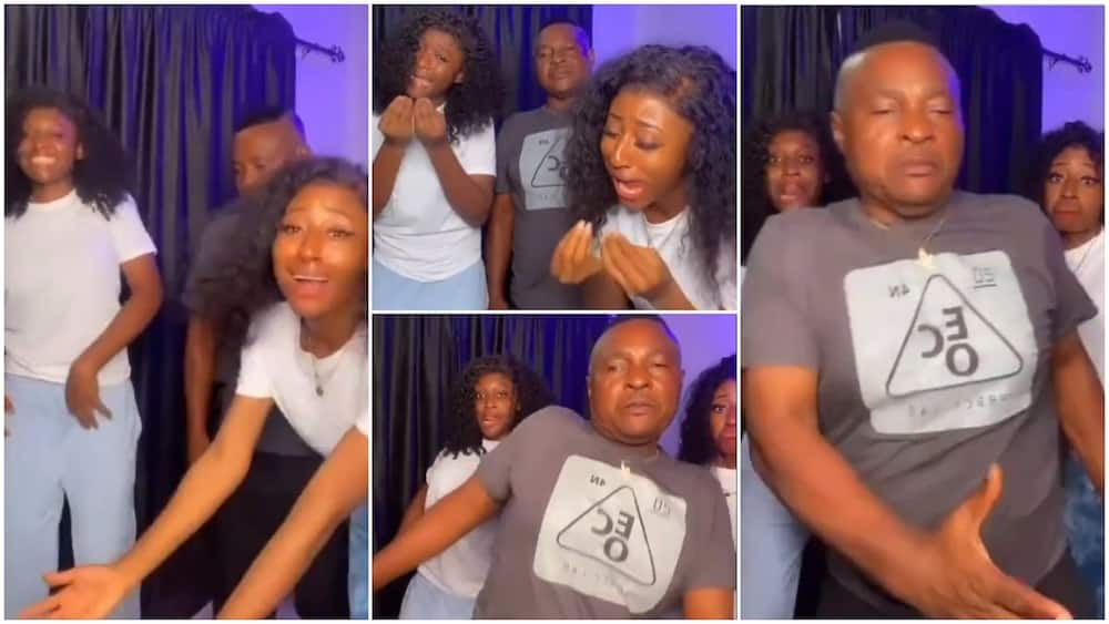 Old dad dance with his 2 young pretty daughter to this popular Nigerian song