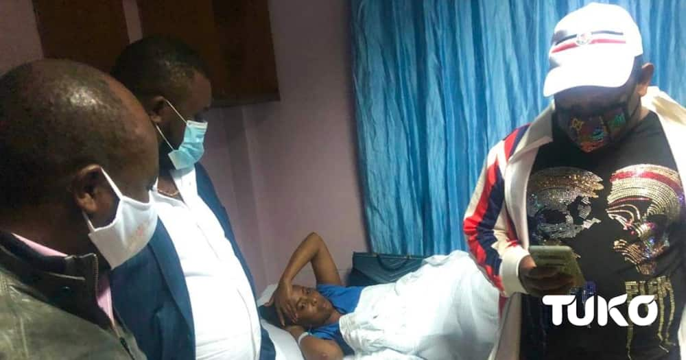 Mike Sonko visits hospitalised Mlango Kubwa MCA brutalised by police officers