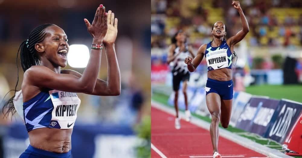 Faith Kipyegon at the 2020 Tokyo Olympics.