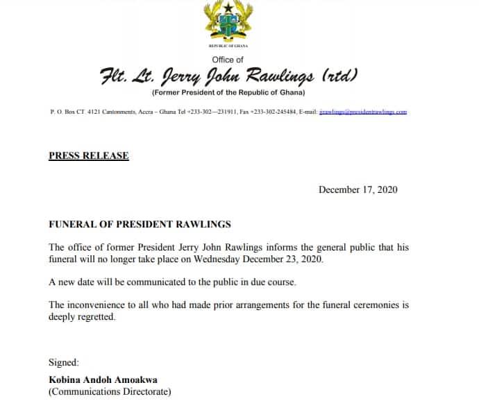 Rawlings funeral rites postponed indefinitely