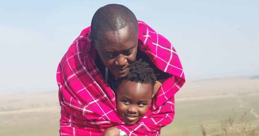Maina Kageni impresses fans while taking care of 'son'.