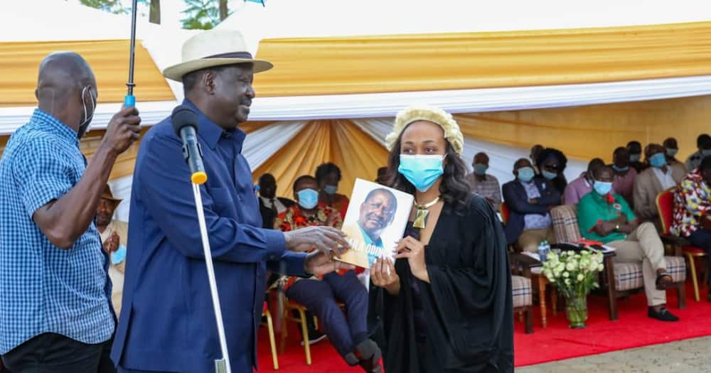 Raila, Atwoli join Sossion in celebrating daughter who became first female lawyer in their village