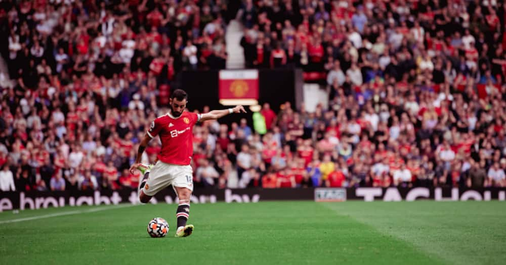 Bruno Fernandes of Manchester United in action during the Premier League match between Manchester United and Aston Villa at Old Trafford on September 25, 2021 in Manchester, England. (Photo by Ash Donelon/Manchester United via Getty Images)