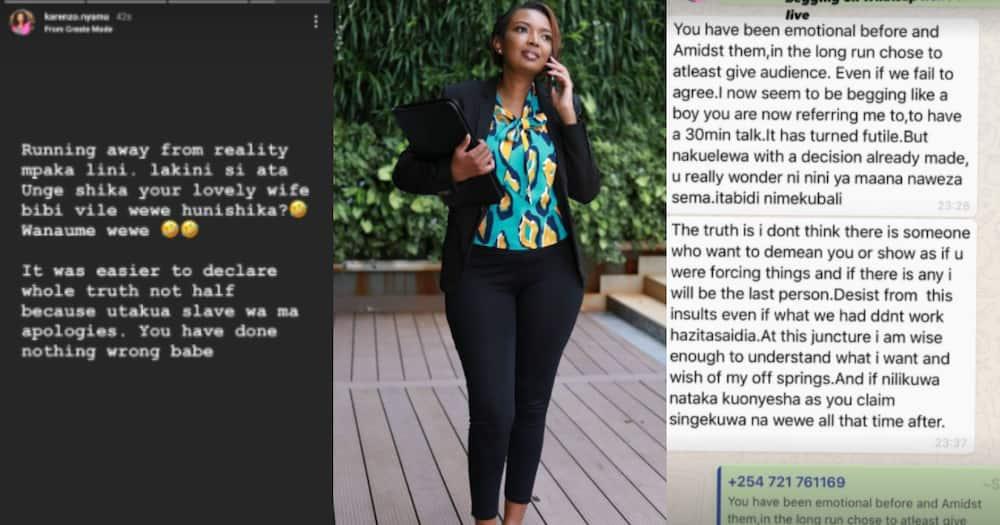 Karen Nyamu says Samidoh is running from reality, claims he spoke half-truth