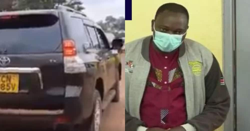 Ayub Kinyanjui Muigai was arrested after a video of his 7-year-old son driving the posh Toyota Prado TX went viral. Photo: Screenshot/Road alerts.