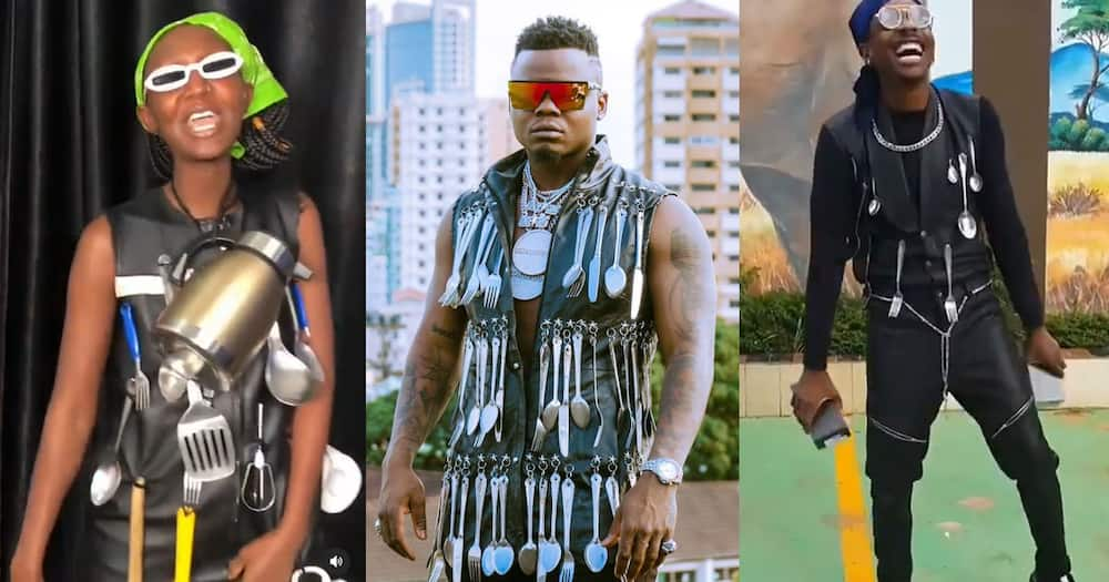 It's too spoon: Harmonize Raises Eyebrows Online after Stepping out Wearing Cutlery