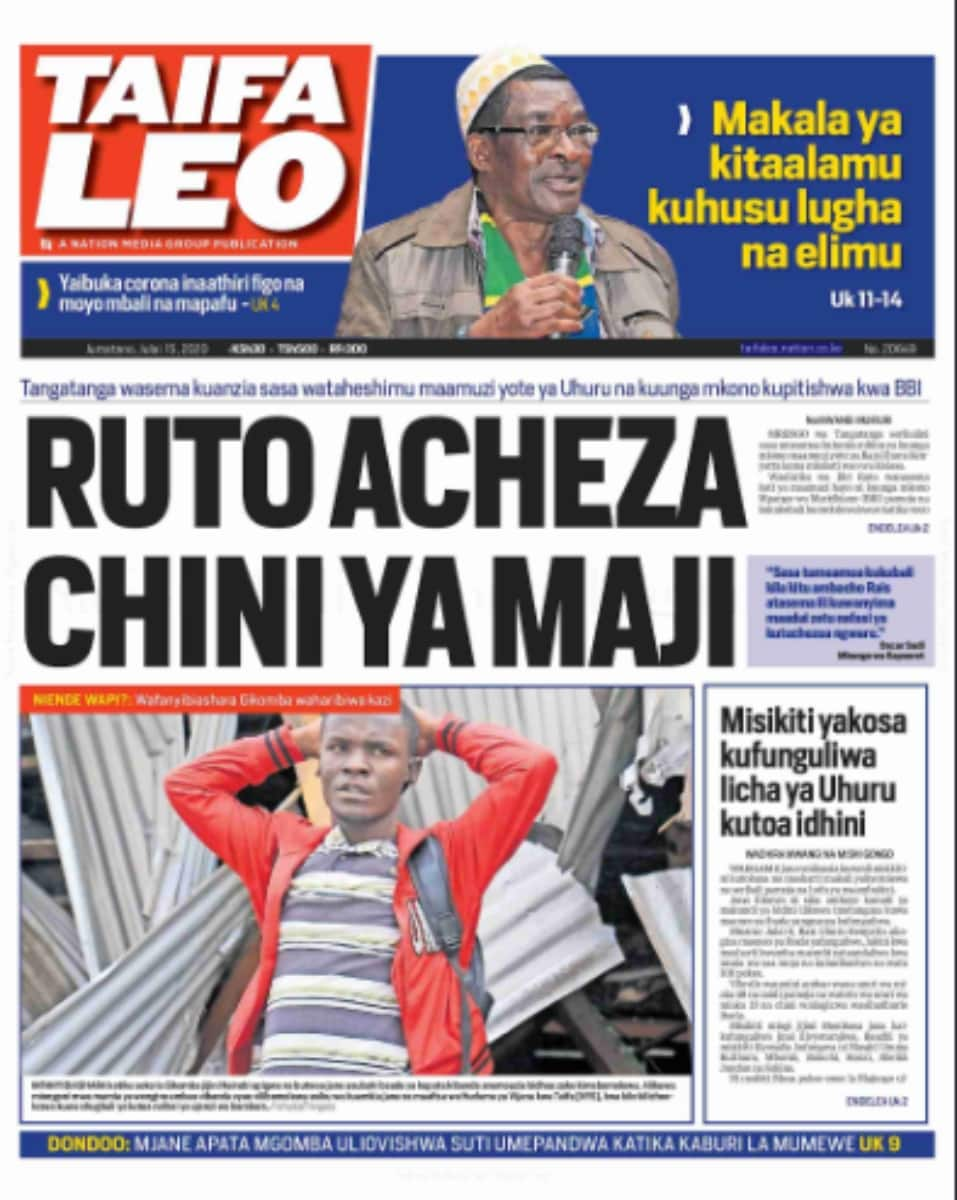 Magazeti ya Jumanne, Julai 15: Viongozi 7 wa Mlima Kenya kupigania kiti cha urais