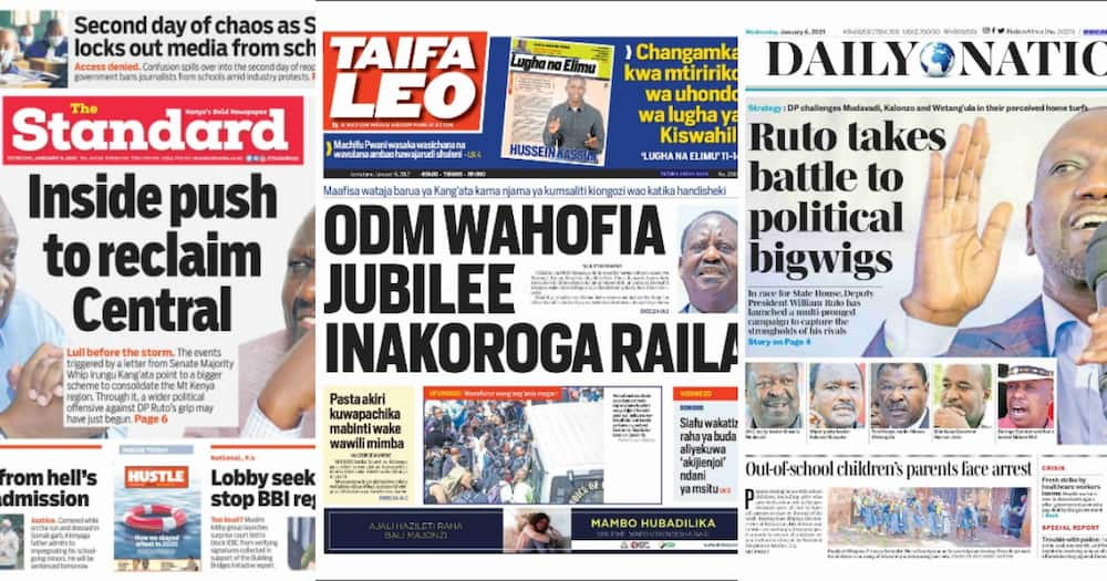 Newspapers review for January 6: ODM reads malice in Irungu Kang'ata's BBI letter to Uhuru