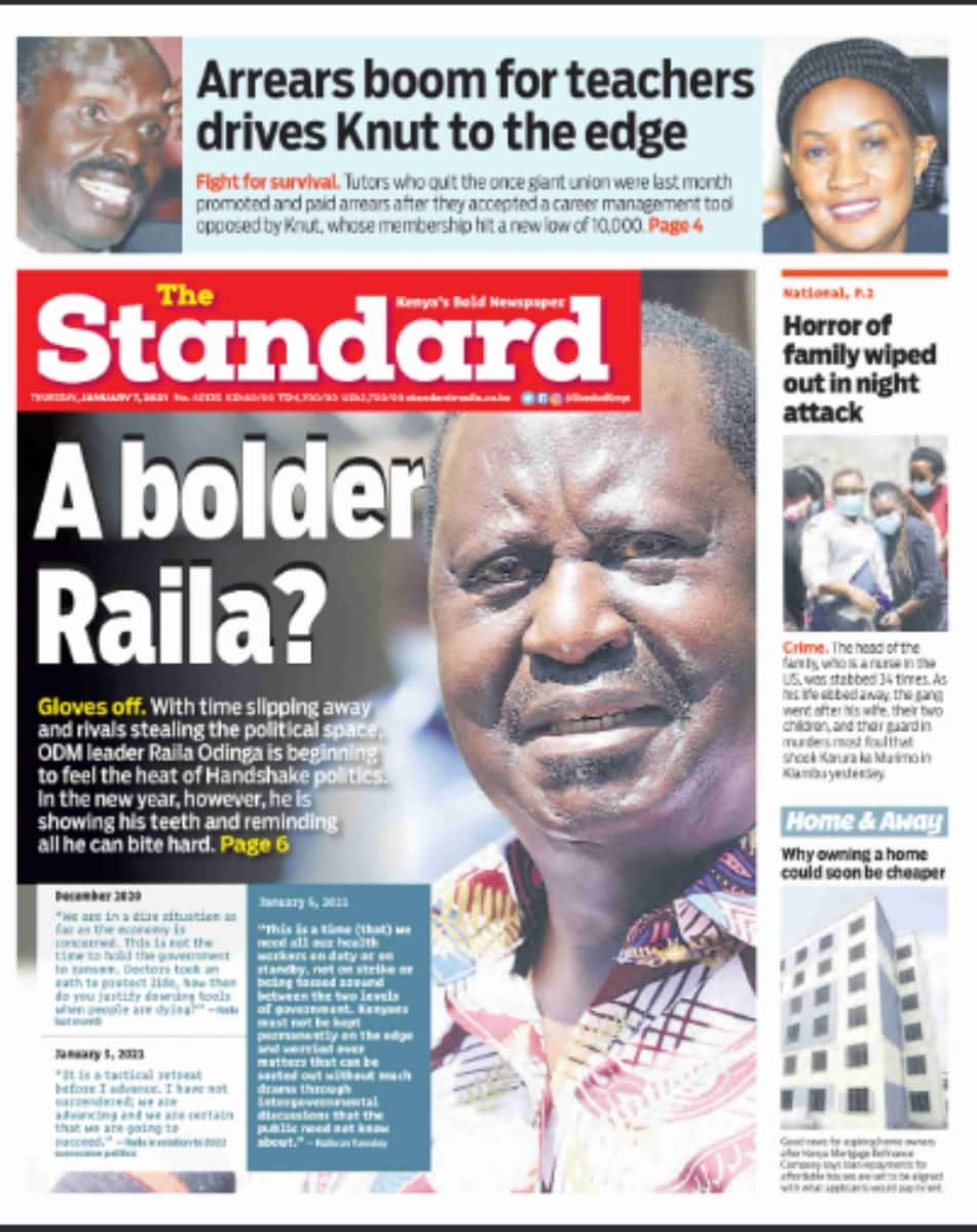 Newspapers review for January 7: Locals, strategists warned Irungu Kang'ata against opposing Ruto in Murang'a